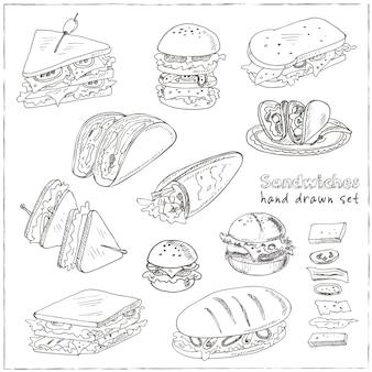 Conjunto de sanduíches.