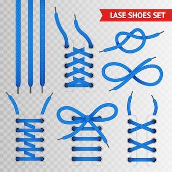 Conjunto de sapatos de renda azul