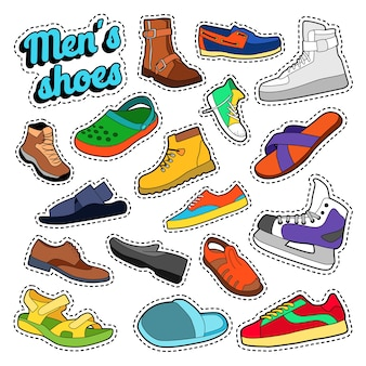Conjunto de sapatos e botas de moda masculina para adesivos, estampas. doodle de vetor