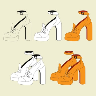 Conjunto de sapatos femininos laranja com salto