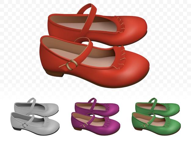 Conjunto de sapatos femininos vermelhos elegantes