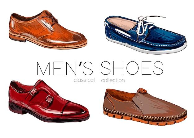 Conjunto de sapatos masculinos.