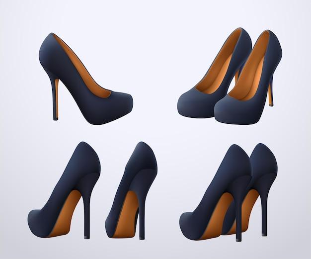 Conjunto de sapatos realistas e elegantes de cor preta em diferentes ângulos