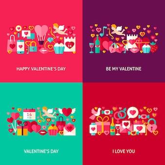 Conjunto de saudação de dia dos namorados. ilustração em vetor design plano. coleção de cartazes de férias de amor.