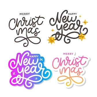Conjunto de saudação de feliz ano novo e feliz natal. composição de letras de férias