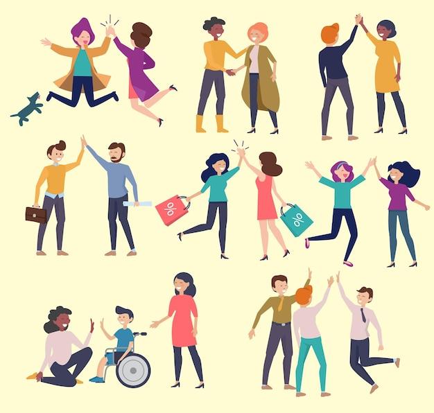 Conjunto de saudação de mais cinco. personagens amigáveis encontrando pessoas.