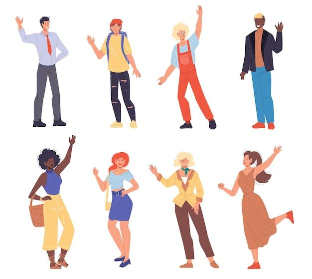 Conjunto de saudações felizes de personagens planos de desenhos animados, acenando com as mãos