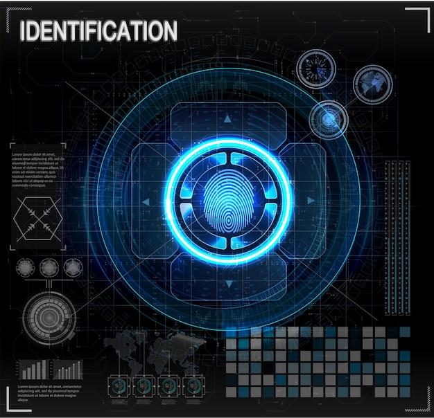 Conjunto de scanners de verificação. digitalização de dedo em estilo futurista. identificação biométrica com futurista