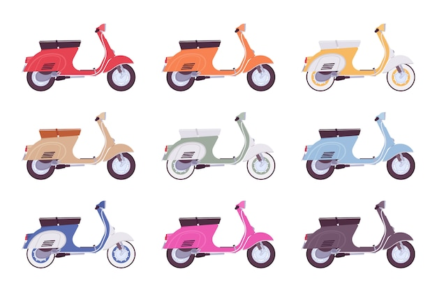 Conjunto de scooters em cores diferentes