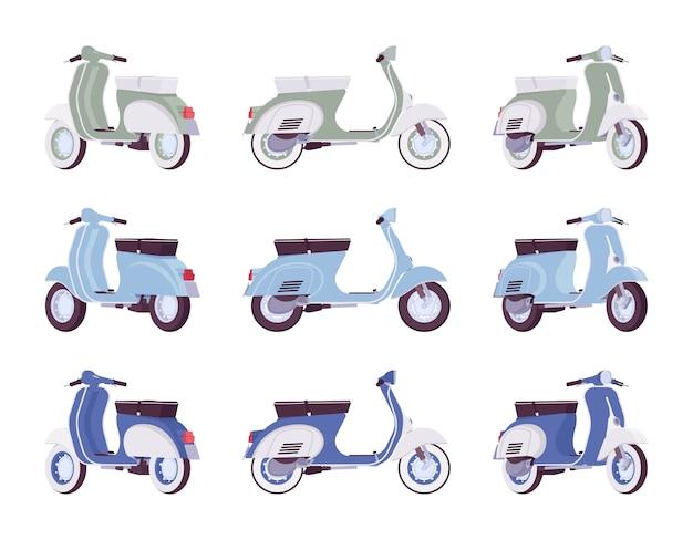 Conjunto de scooters nas cores verdes, turquesas e azuis