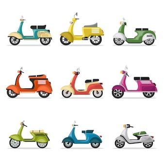 Conjunto de scooters vintage isolado no branco