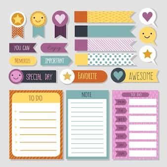 Conjunto de scrapbook para planejador de carinhas sorridentes