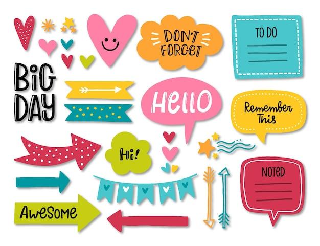Conjunto de scrapbooking para planejamento do dia