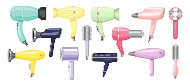 Conjunto de secadores de cabelo e aparelho moderno de pentes elétricos para cuidados de beleza femininos. secador de cabelo e escova isolados no fundo branco. equipamento de salão de cabeleireiro, itens de higiene. ilustração em vetor de desenho animado