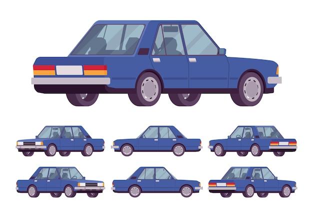 Conjunto de sedan azul marinho