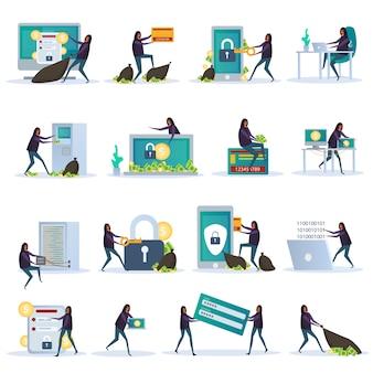 Conjunto de segurança cibernética de pessoas planas com dispositivos eletrônicos para proteção de dados e atividade de hacker isolado de ilustração vetorial