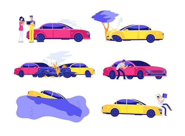 Conjunto de seguro de acidentes de carro