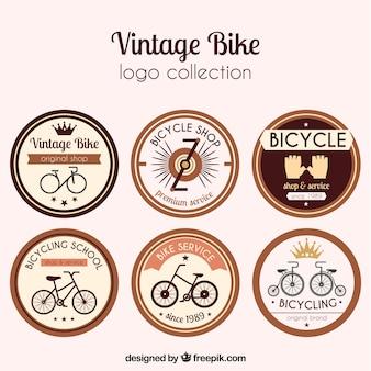 Conjunto de seis adesivos redondos retro da bicicleta