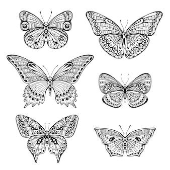 Conjunto de seis borboletas de mão desenhada doodle ornamentado