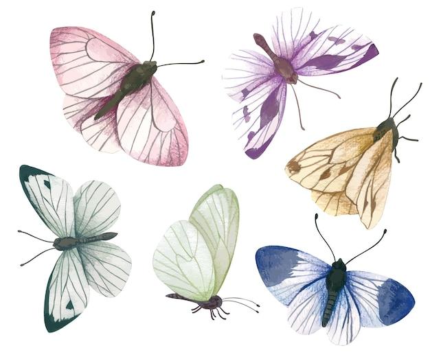Conjunto de seis borboletas pastel desenhadas à mão