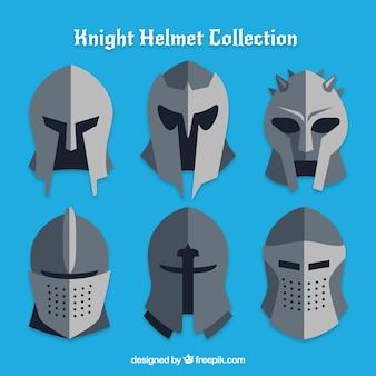 Conjunto de seis capacetes de armadura em design plano