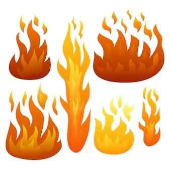 Conjunto de seis chamas de fogo isoladas no fundo branco. ilustração vetorial