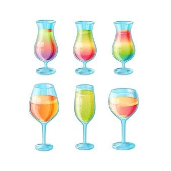 Conjunto de seis copos desenhados à mão com coquetéis de verão com baixo teor alcoólico