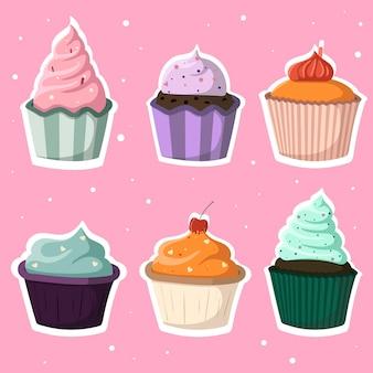 Conjunto de seis donuts bonitos dos desenhos animados de cores diferentes. fundo rosa rosa.