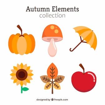 Conjunto de seis elementos de outono em design plano