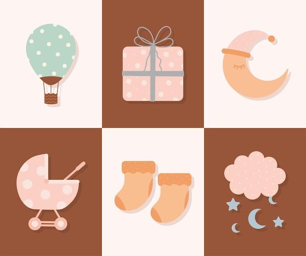 Conjunto de seis ícones de bebê