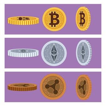 Conjunto de seis ícones de blockchain de moedas cibernéticas ilustração vetorial design
