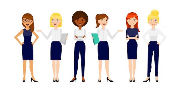 Conjunto de seis mulher de negócios sorridente diferente