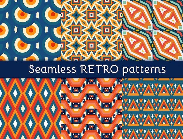 Conjunto de seis padrões étnicos sem costura.