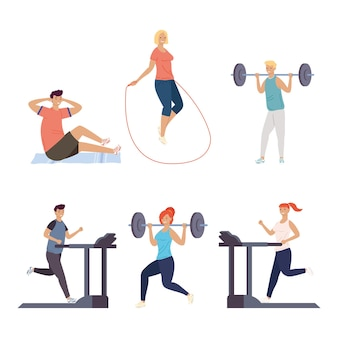 Conjunto de seis pessoas praticando fitness esportes personagens ilustração design