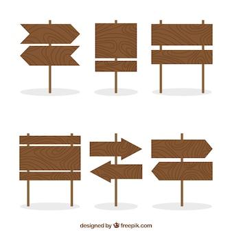 Conjunto de seis placas de madeira em forma plana