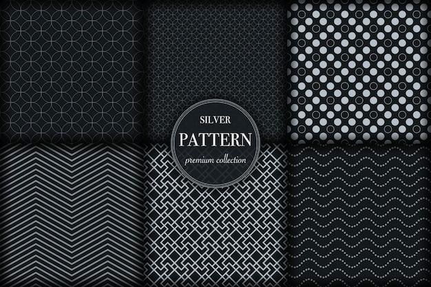 Conjunto de seis quadrados de padrão geométrico prateado escuro