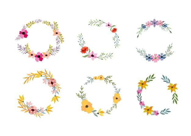 Conjunto de seis quadros de flores em aquarela em branco