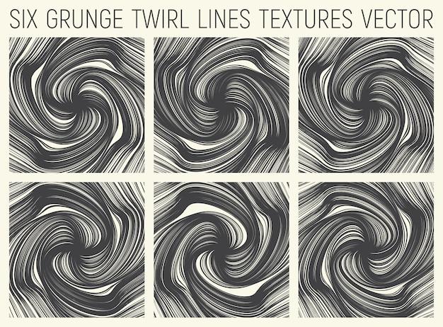 Conjunto de seis texturas de linhas de rodopio abstrato