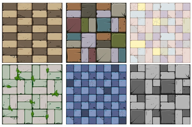 Conjunto de seis texturas de pedra de ladrilhos de pedra antigos