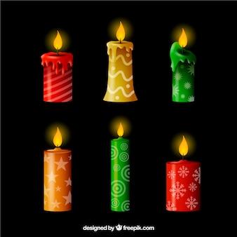 Conjunto de seis velas de natal realistas