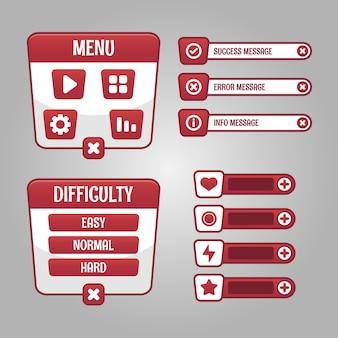 Conjunto de seleção de menu de jogo para rpg e jogo de aventura, incluindo menu, seleção de nível e opções.