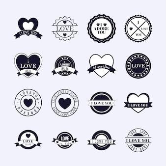 Conjunto de selo de amor