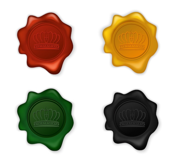 Conjunto de selo de cera de coroa