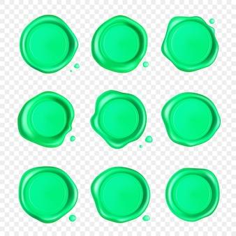 Conjunto de selo de cera verde com coleção de gotas
