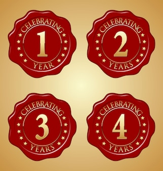 Conjunto de selo de cera vermelha de aniversário