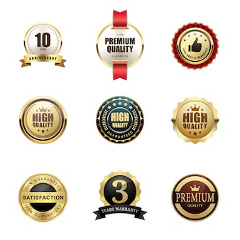 Conjunto de selo de garantia de qualidade premium prêmio logotipo metálico brilhante luxo
