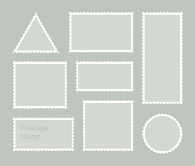 Conjunto de selo postal em branco. modelo de adesivo postal para correspondência de borda dentada.