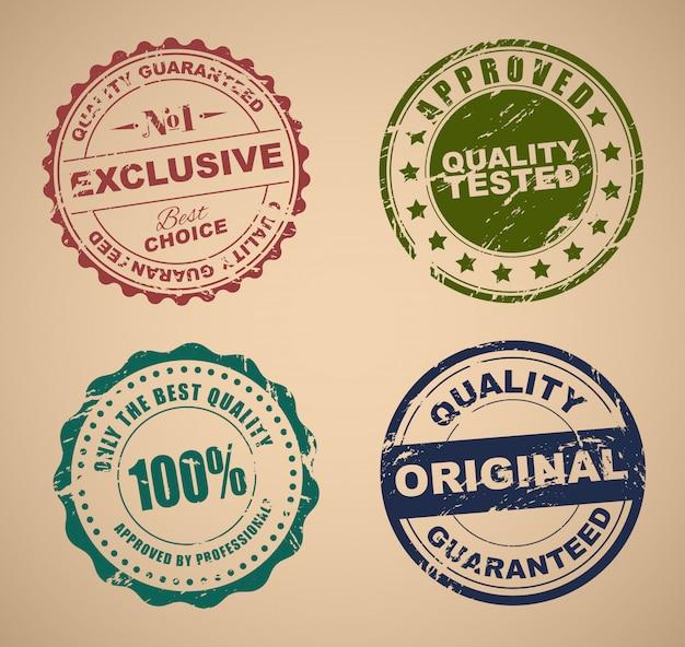 Conjunto de selos antigos de controle de qualidade