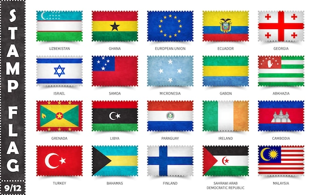 Conjunto de selos com bandeiras oficiais do país