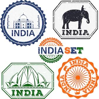 Conjunto de selos da índia. desenho simples. símbolos da índia. ilustração Vetor Premium